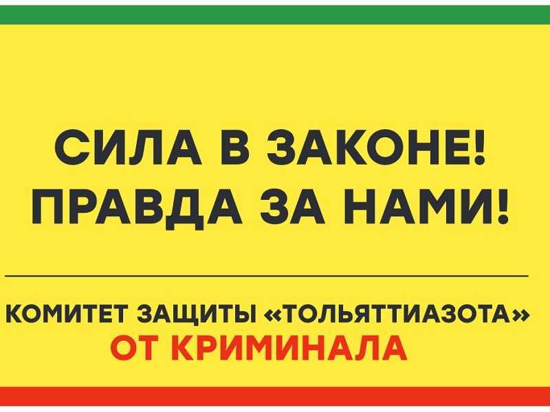 «Комитет защиты «Тольяттиазота» от криминала обратился в правоохранительные органы по поводу незаконного вывода денег завода через фальшивые стройподряды